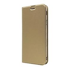 Sony Xperia 10 Plus用手帳型 レザーケース スタンド カバー L01 ソニー ゴールド