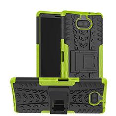 Sony Xperia 10 Plus用ハイブリットバンパーケース スタンド プラスチック 兼シリコーン カバー ソニー グリーン
