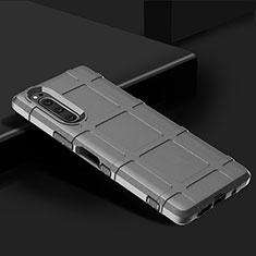 Sony Xperia 5用360度 フルカバー極薄ソフトケース シリコンケース 耐衝撃 全面保護 バンパー ソニー シルバー