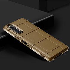 Sony Xperia 5用360度 フルカバー極薄ソフトケース シリコンケース 耐衝撃 全面保護 バンパー ソニー ブラウン
