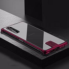 Sony Xperia 5用ケース 高級感 手触り良い アルミメタル 製の金属製 カバー ソニー ワインレッド