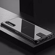 Sony Xperia 5用ケース 高級感 手触り良い アルミメタル 製の金属製 カバー ソニー ブラック