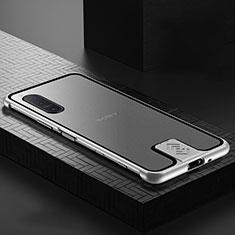 Sony Xperia 5 II用ケース 高級感 手触り良い アルミメタル 製の金属製 360度 フルカバーバンパー 鏡面 カバー ソニー シルバー