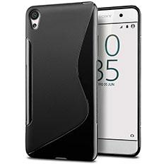 Sony Xperia E5用ソフトケース S ライン クリア透明 ソニー ブラック