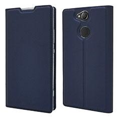 Sony Xperia XA2用手帳型 レザーケース スタンド カバー ソニー ネイビー