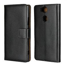 Sony Xperia XA2 Plus用手帳型 レザーケース スタンド ソニー ブラック