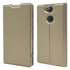 Sony Xperia XA2 Plus用手帳型 レザーケース スタンド カバー ソニー ゴールド