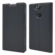 Sony Xperia XA2 Plus用手帳型 レザーケース スタンド カバー ソニー ブラック