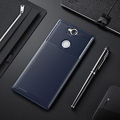 Sony Xperia XA2 Plus用シリコンケース ソフトタッチラバー ツイル カバー ソニー ネイビー
