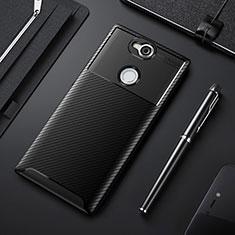 Sony Xperia XA2 Plus用シリコンケース ソフトタッチラバー ツイル カバー ソニー ブラック