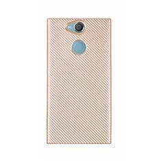 Sony Xperia XA2 Ultra用シリコンケース ソフトタッチラバー ツイル カバー S01 ソニー ゴールド