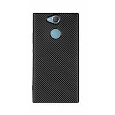 Sony Xperia XA2 Ultra用シリコンケース ソフトタッチラバー ツイル カバー S01 ソニー ブラック