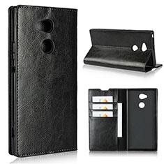 Sony Xperia XA2 Ultra用手帳型 レザーケース スタンド カバー L02 ソニー ブラック