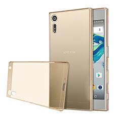 Sony Xperia XZ用極薄ソフトケース シリコンケース 耐衝撃 全面保護 クリア透明 ソニー ゴールド