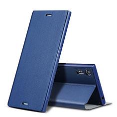 Sony Xperia XZ用手帳型 レザーケース スタンド ソニー ネイビー
