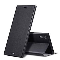 Sony Xperia XZ用手帳型 レザーケース スタンド ソニー ブラック