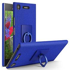 Sony Xperia XZ1用ハードケース カバー プラスチック アンド指輪 ソニー ネイビー