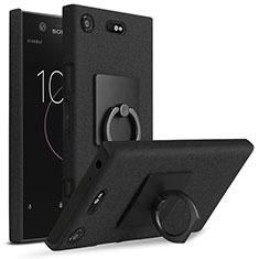 Sony Xperia XZ1 Compact用ハードケース カバー プラスチック アンド指輪 ソニー ブラック