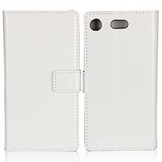 Sony Xperia XZ1 Compact用手帳型 レザーケース スタンド L01 ソニー ホワイト