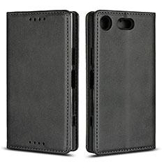 Sony Xperia XZ1 Compact用手帳型 レザーケース スタンド カバー L04 ソニー ブラック