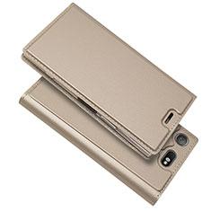 Sony Xperia XZ1 Compact用手帳型 レザーケース スタンド カバー L05 ソニー ゴールド