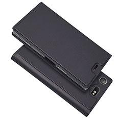 Sony Xperia XZ1 Compact用手帳型 レザーケース スタンド カバー L05 ソニー ブラック