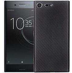 Sony Xperia XZ1 Compact用シリコンケース ソフトタッチラバー ツイル カバー S01 ソニー ブラック