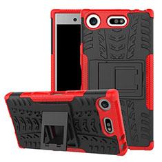 Sony Xperia XZ1 Compact用ハイブリットバンパーケース スタンド プラスチック 兼シリコーン カバー A01 ソニー レッド