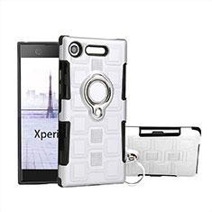 Sony Xperia XZ1 Compact用ハイブリットバンパーケース プラスチック アンド指輪 S01 ソニー ホワイト