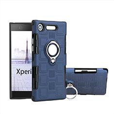 Sony Xperia XZ1 Compact用ハイブリットバンパーケース プラスチック アンド指輪 S01 ソニー ブルー