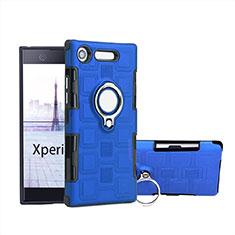 Sony Xperia XZ1 Compact用ハイブリットバンパーケース プラスチック アンド指輪 S01 ソニー ネイビー