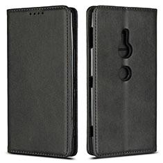 Sony Xperia XZ2用手帳型 レザーケース スタンド カバー L02 ソニー ブラック