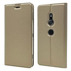 Sony Xperia XZ2用手帳型 レザーケース スタンド カバー L03 ソニー ゴールド