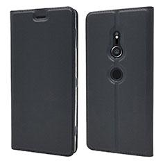 Sony Xperia XZ2用手帳型 レザーケース スタンド カバー L03 ソニー ブラック
