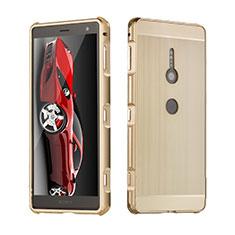 Sony Xperia XZ2用ケース 高級感 手触り良い アルミメタル 製の金属製 カバー ソニー ゴールド