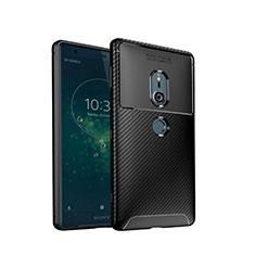Sony Xperia XZ2用シリコンケース ソフトタッチラバー ツイル カバー S02 ソニー ブラック