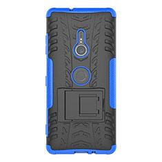 Sony Xperia XZ3用ハイブリットバンパーケース スタンド プラスチック 兼シリコーン カバー ソニー ネイビー