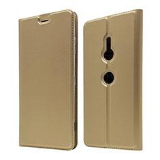 Sony Xperia XZ3用手帳型 レザーケース スタンド カバー ソニー ゴールド