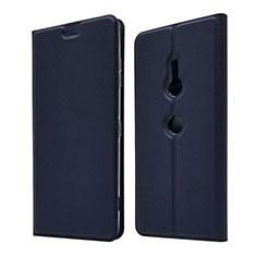 Sony Xperia XZ3用手帳型 レザーケース スタンド カバー ソニー ネイビー