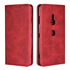 Sony Xperia XZ3用手帳型 レザーケース スタンド カバー L02 ソニー レッド