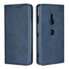 Sony Xperia XZ3用手帳型 レザーケース スタンド カバー L02 ソニー ネイビー