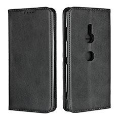 Sony Xperia XZ3用手帳型 レザーケース スタンド カバー L02 ソニー ブラック