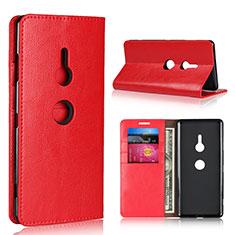 Sony Xperia XZ3用手帳型 レザーケース スタンド カバー L03 ソニー レッド