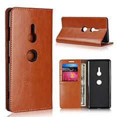Sony Xperia XZ3用手帳型 レザーケース スタンド カバー L03 ソニー オレンジ