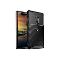 Sony Xperia XZ3用シリコンケース ソフトタッチラバー ツイル カバー S01 ソニー ブラック