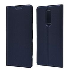 Sony Xperia XZ4用手帳型 レザーケース スタンド カバー L02 ソニー ネイビー