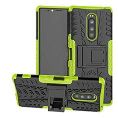Sony Xperia XZ4用ハイブリットバンパーケース スタンド プラスチック 兼シリコーン カバー ソニー グリーン