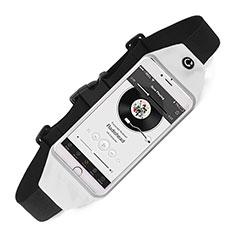 Asus Zenfone 4 Max ZC554KL用ベルトポーチ カバーランニング スポーツケース ユニバーサル ホワイト