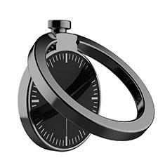 スタンドタイプのスマートフォン ホルダー マグネット式 ユニバーサル バンカーリング 指輪型 Z05 ブラック