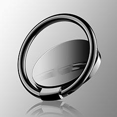 スタンドタイプのスマートフォン ホルダー マグネット式 ユニバーサル バンカーリング 指輪型 Z16 ブラック